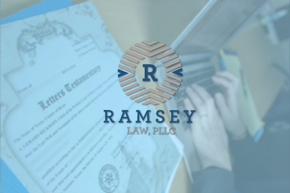 Ramsy Law logo over letters of testamentary next to Amber Ramsy using laptop