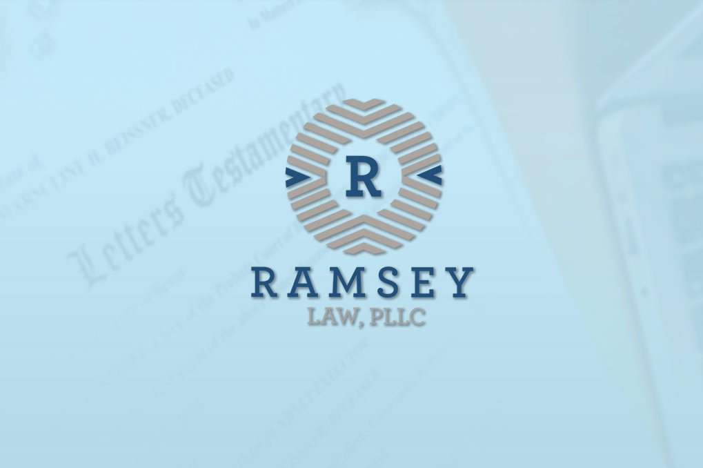 Ramsey Law logo over blurry letters of testamentary