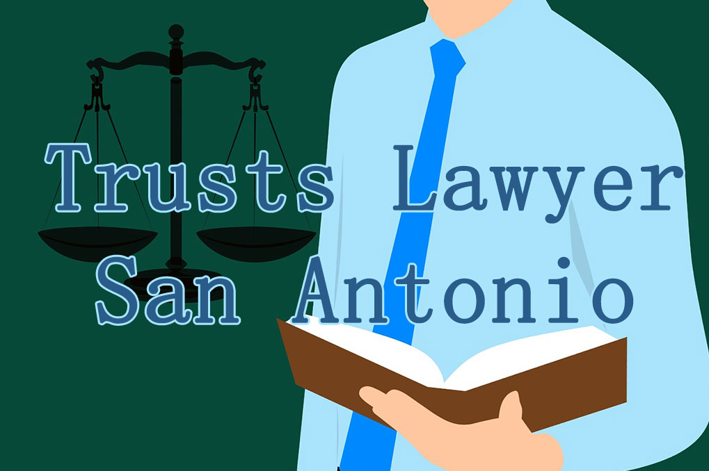 "Text saying""Trusts Lawyer San Antonio"" over clip art of man holding book and scales of justice next to him"