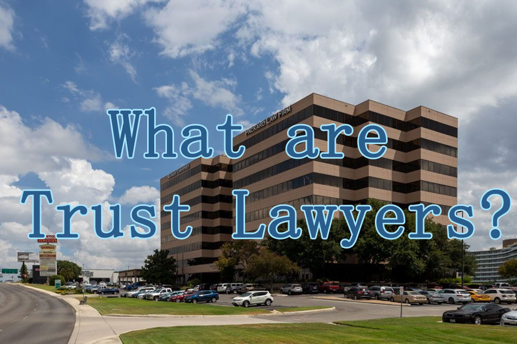 """Text saying """"What are Trust lawyers?"""" over business building"""