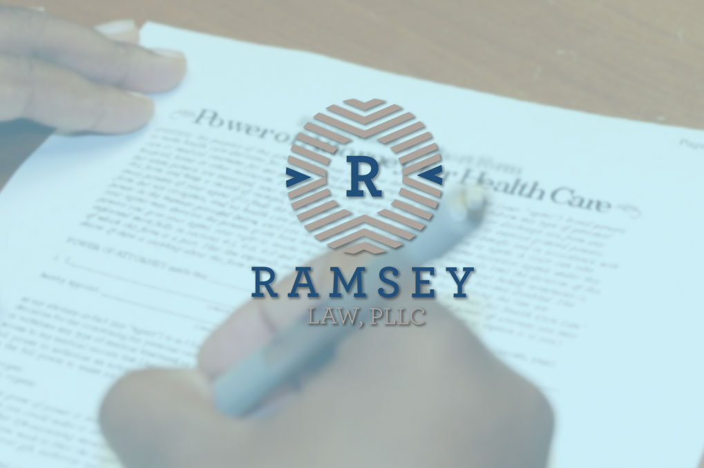Ramsey Law logo over legal document
